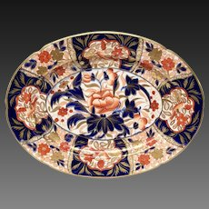 Rare Antique Coalport Peony Pattern Regency Imari Platter
