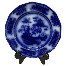 Antique E. Challinor Pelew Flow Blue Salad Plate