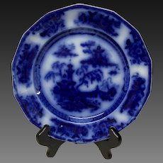 Antique E. Challinor Pelew Flow Blue Salad Plate