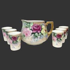 Lovely Seven Piece Antique Hand Painted Roses Limoges, German Lemonade Set