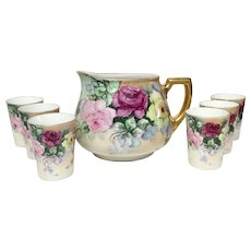 Lovely Seven Piece Antique Hand Painted Roses Limoges, German Lemonade Set