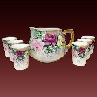 Lovely Seven Piece Antique Hand Painted Roses Lemonade Set