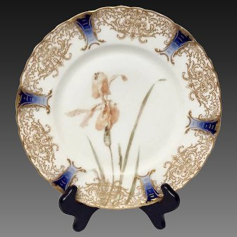 Rare Haviland Feu De Four Gold Encrusted Iris Cabinet Plate