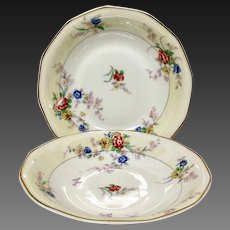 """Pair (2) Theodore Haviland France """"Jewel"""" Soup or Cereal Bowls"""