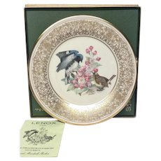 Lenox Boehm Bird Collector Series Black-Throated Blue Warbler Plate