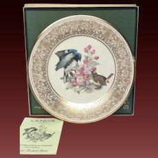 Lenox Boehm Bird Collector Series Black-Throated Blue Warbler Plate