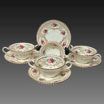 Set (4) Gilman Collamore Bouillons by Wedgwood Roses Gilding