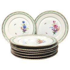 Set (13) Magnificent KPM Berlin Kurland Chargers, Flowers, Butterflies, Gilding