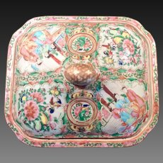Stunning 19th Century Rose Medallion Covered Dish