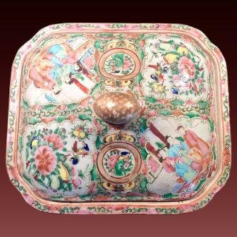 Stunning 19th Century Rose Medallion Covered Dish