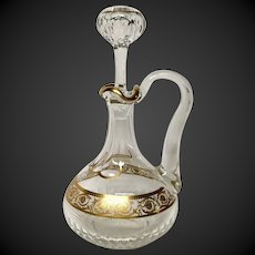 Superb St. Louis Crystal Vintage THISTLE Handled Wine Decanter