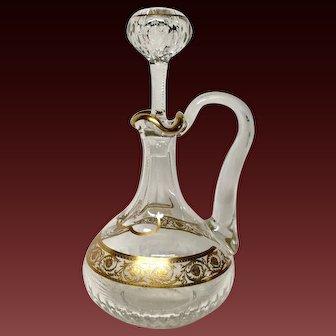 Superb St. Louis Crystal Vintage THISTLE Handled Wine Decanter
