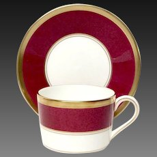 Stunning Coalport Athlone Marone (Ruby) Flat Cup and Saucer