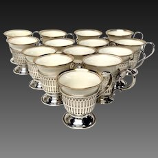Set (12) Lenox Demitasse Cups with Wallace Sterling Silver Holders
