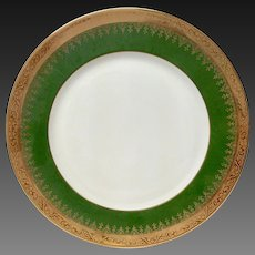 Charles Field Haviland Green & Gold Encrusted Dinner Plate