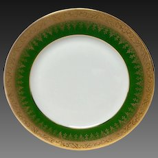 Charles Field Haviland Green & Gold Encrusted Salad Plate