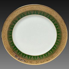 Charles Field Haviland Green & Gold Encrusted Bread & Butter Plate