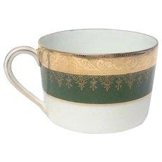 Charles Field Haviland Green & Gold Encrusted Flat Tea Cup
