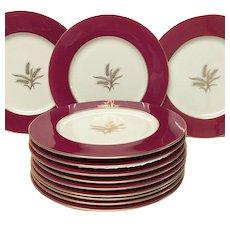 Set (12) Lenox Mid Century Wheat Crimson W335-R Dinner Plates