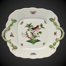 Herend Rothschild Bird (RO) Square Cake Plate Rose Stem Handles