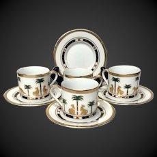 Set (4) Christain Dior Casablanca Demitasse Cup & Saucers