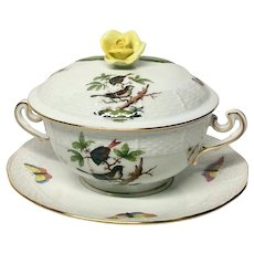 Herend Rothschild Bird (RO) Covered Cream Soup Bowl and Saucer