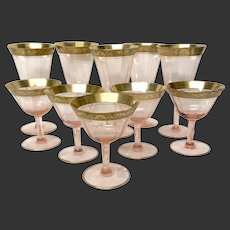 Set (10)  Morgantown 7586-2 Pink Optic Crystal Goblets With Raised Gold Etched Rims