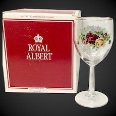 Set(4) Royal Albert Old Country Roses All Purpose Crystal Goblets