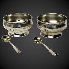 Pair of Tiffany Sterling Salt Cellars with Gorham Salt Spoons
