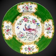 Stunning Antique Minton Green Cockatrice Dinner Plate