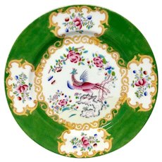 Stunning Antique Minton Green Cockatrice Dinner Plate
