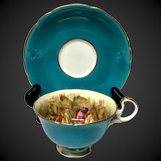 Lovely Aynsley Fruit C439 Turquoise Cup & Saucer Signed D. Jones