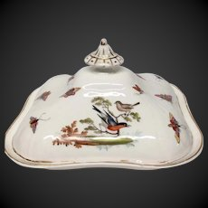 Hand Painted Covered Serving Bowl Birds, Butterflies, Crossed Swords Mark