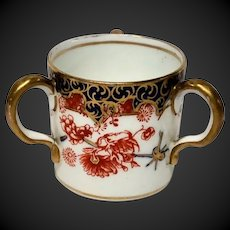 Antique Royal Crown Derby Miniature Three Handle Tyg or Loving Cup