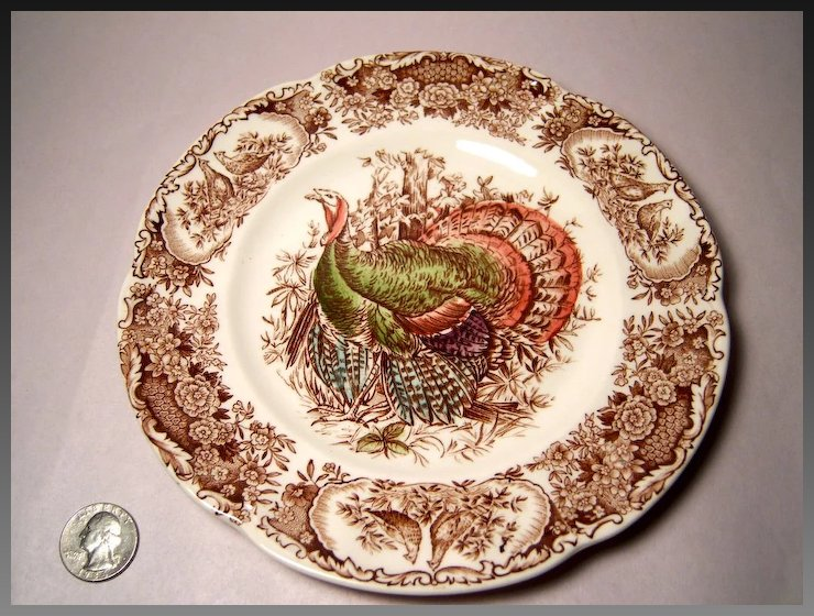 Johnson Bros. Wild Turkeys Brown, Native American Salad Plate ...