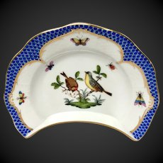 Herend Artist Signed Rothschild Bird Blue Border RO-EB Crescent Salad Plate