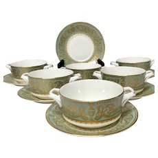 Stunning Set (6) Royal Worcester Balmoral Cream Soup Bowls & Saucers