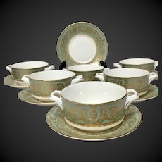 Stunning Set (6) Royal Worcester Balmoral Cream Soup Bowls & Saucers