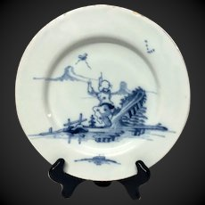 """Rare 18th Century English Delft """"Jumping Chinaman"""" Plate"""