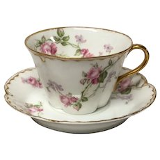 Haviland Limoges Schleiger 87 American Beauty Roses Cup & Saucer Set(s)