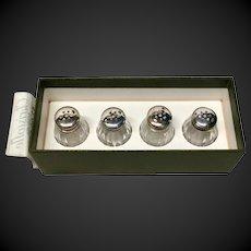 Set (4) Christofle Sterling & Crystal Individual Salts, Original Box