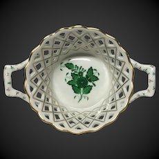 Herend Chinese Bouquet Green Medium Open Weave Handled Basket
