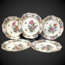 Exquisite Set (5) Carl Thieme Dresden Reticulated Dessert Plates