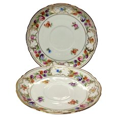 Pair (2) Schumann Empress Dresden Flowers Tea Cup Saucers Only