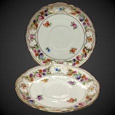 Pair (2) Schumann Empress Dresden Flowers Tea Cup Saucers Only