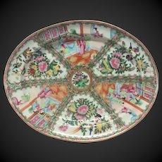Superb 19th Century Large Rose Medallion Deep Oval Platter
