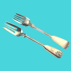 Pair (2) Tiffany Shell & Thread Sterling Salad Forks