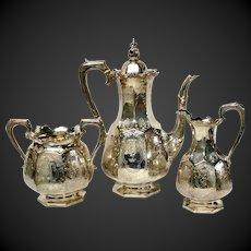 Stunning Joseph Angell II Large Three Piece Victorian Sterling Coffee Set