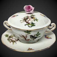 Herend Rothschild Bird (RO) Covered Cream Soup Bowl and Sauce Pink Rose