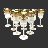 Stunning Set (11) Vintage Gold Encrusted & Clear Etched Optic Water Goblets